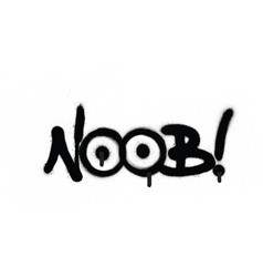 Graffiti noob chat abbreviation in black vector