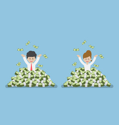 Happy businessman standing in a pile of money vector