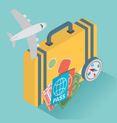 isometric travel with airplane design concept vector image vector image