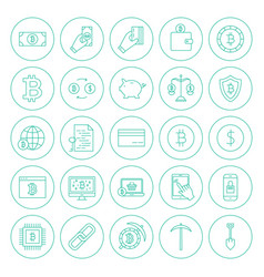 Line cryptocurrency circle icons vector