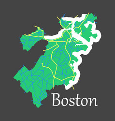 map of boston city flat vector image vector image