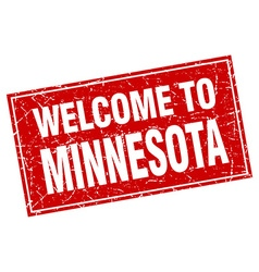 Minnesota red square grunge welcome to stamp vector