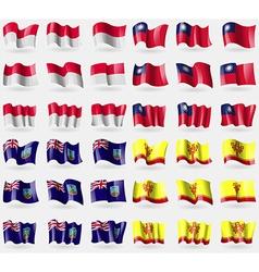 Monaco taiwan montserrat chuvashia set of 36 flags vector