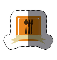Orange emblem cutlery tools icon vector