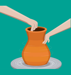 Potter making a pottery vector