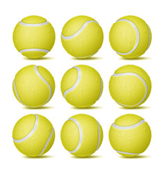 realistic tennis ball set classic round vector image vector image