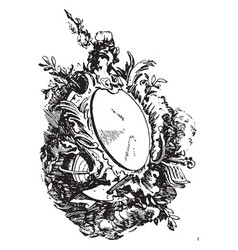 Rococo strap-work frame was unsymmetrical vector