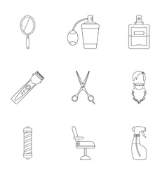 Salon icons set outline style vector
