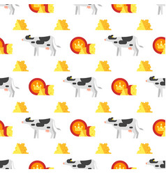 seamless pattern with cheese and cow vector image vector image