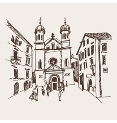 Sketch drawing of church of saint tryphon in kotor vector