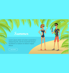 summer vacation conceptual flat web banner vector image vector image