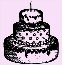 Three tiered cake candle vector