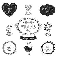 Vintage love labels vector image