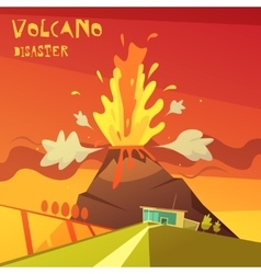 Volcano disaster vector