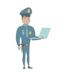 Young hispanic policeman using a laptop vector