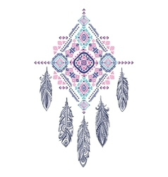 Aztec mexican tribal ornament dream catcher vector