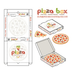 Design of boxes for pizza vector