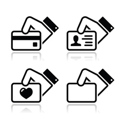 Hand holding credit card business card ID icons vector image