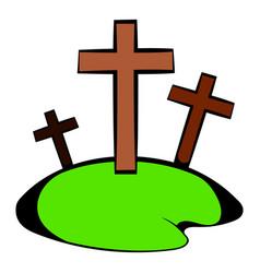 Cemetery icon in icon cartoon vector