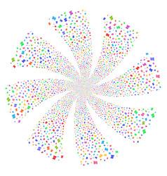Script roll fireworks swirl flower vector