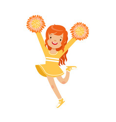Cute little red haired girl dancing with yellow vector