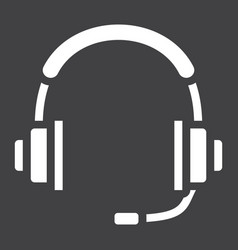 headphones solid icon call center and website vector image