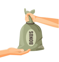 Giving money in bag with bonus text concept one vector