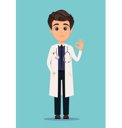 Medical doctor in white coat showing ok sign vector