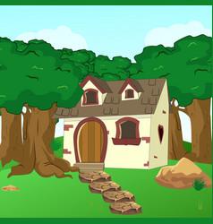 Rural cartoon forest cabin landscape vector