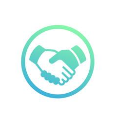 Handshake partnership deal icon over white vector