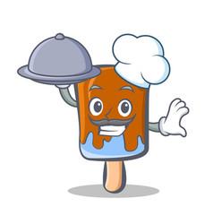 Chef ice cream character cartoon with food vector