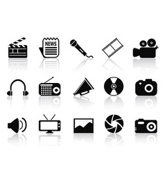 Black multimedia icons set vector