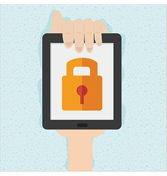 Hand holds smart phone with cloud security concept vector
