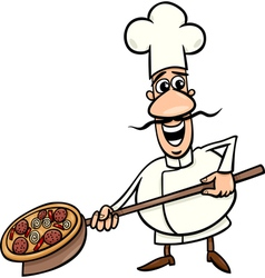 italian cook with pizza cartoon vector image