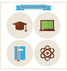 Flat education website icons set vector