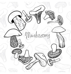 Circular frame of different hand drawn mushrooms vector