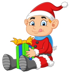 Little santa holding gift box vector