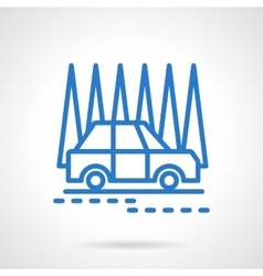 Car in a forest black line icon vector