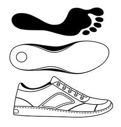 Black outlined sneakers shoe sole vector