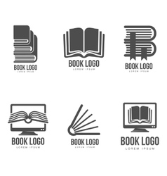 Set of black and white book logo designs vector