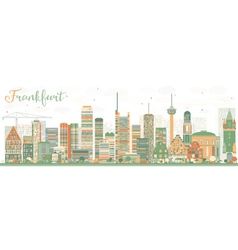 Abstract Frankfurt Skyline with Color Buildings vector image