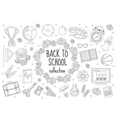 back to school set of icons line style education vector image