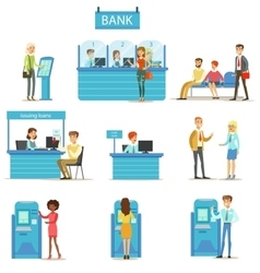 Bank Service Professionals And Clients Different vector image vector image