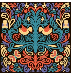 Beautiful colored floral pattern with owl vector