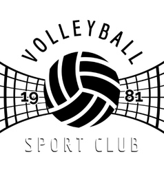 Black and white volleyball emblem vector image vector image