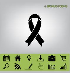 Black awareness ribbon sign black icon at vector