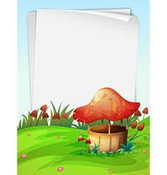 Blank paper with mushroom background vector image vector image