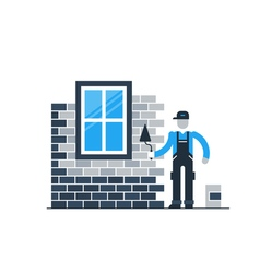Brick wall layer worker with window vector image