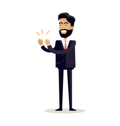 Businessman clapping hands with happy face vector