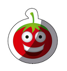 color kawaii happy tomato icon vector image